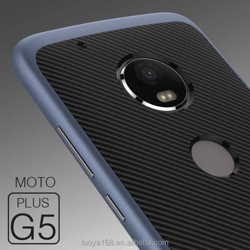 Carbon fiber metal color plating bumper and soft TPU cover inside mobile case for motorola G5 Plus, for moto g5 cell case cover