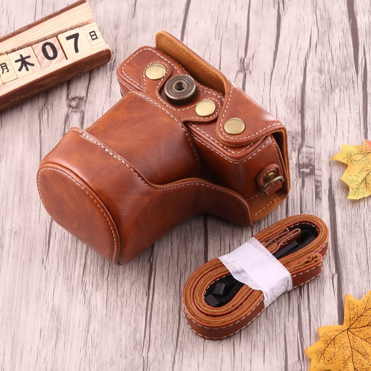 Dropshipping in stock Full Body PU Leather pouch Bag for Canon EOS M10 with Strap (Brown)