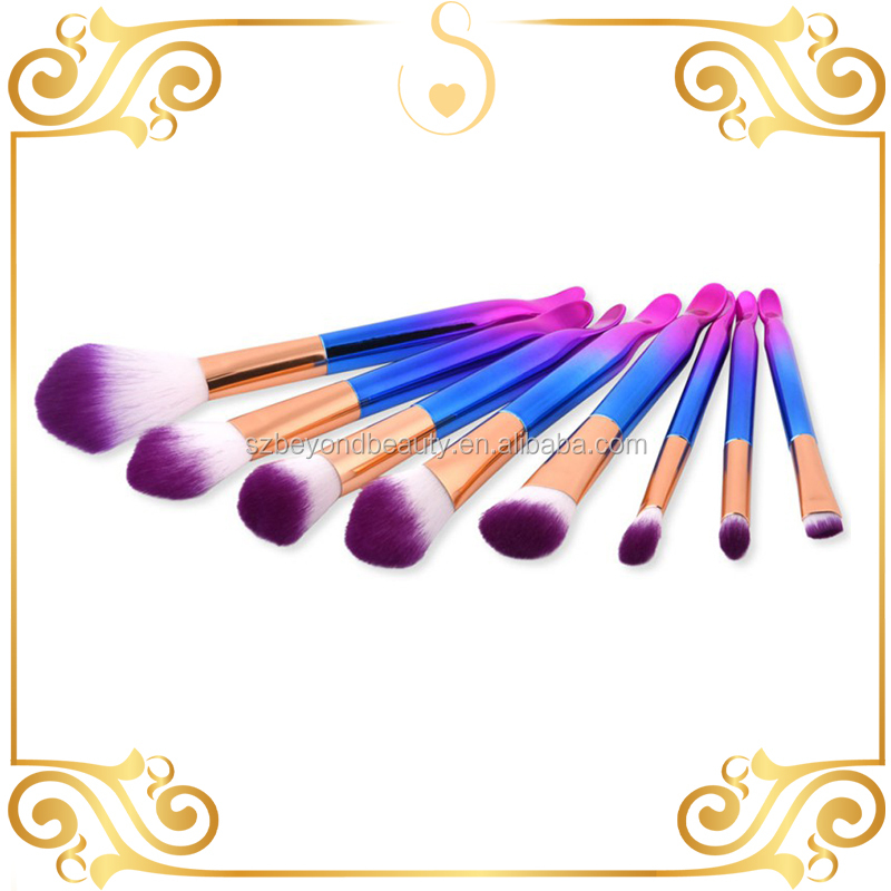 Hot sale fishtail shape 8 pcs makeup brush rose golden makeup brush