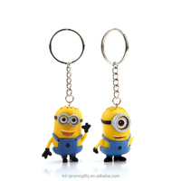 Cheap 3D Despicable Me Minions Keyring Soft PVC Despicable Me Minions Keychain