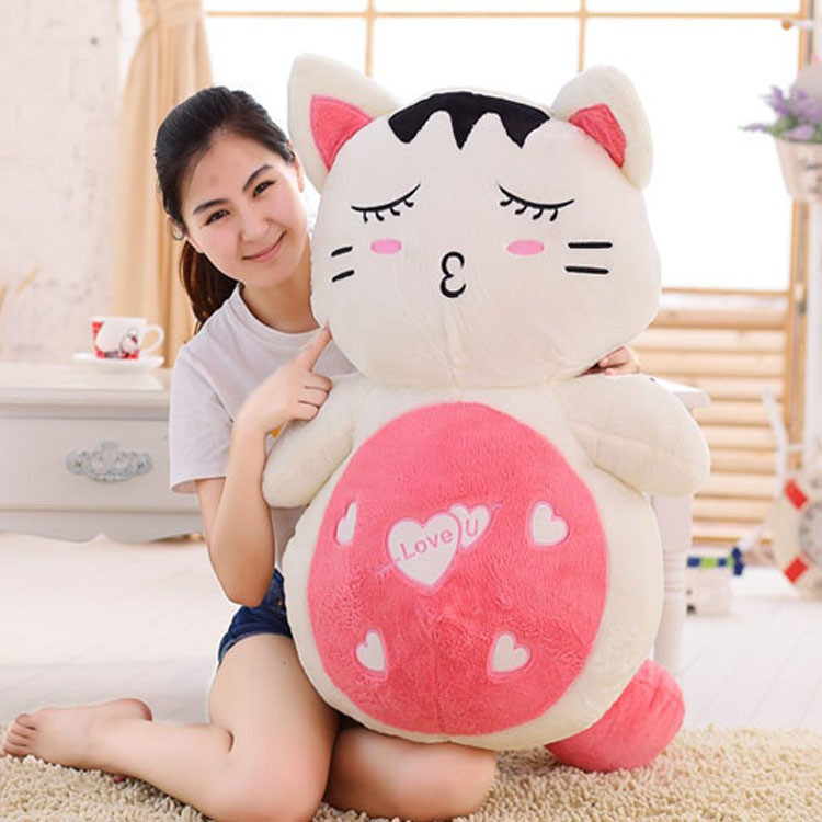 pure loving fresh cat plush doll big pink belly cool stuffed animals
