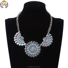 NLX-00448 different types of necklace chains jewelry round sun shape turquoise alloy turkish silver necklace jewelry