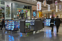 Shopping mall Open style mobile phone and accessories retail kiosk glass display furniture designs