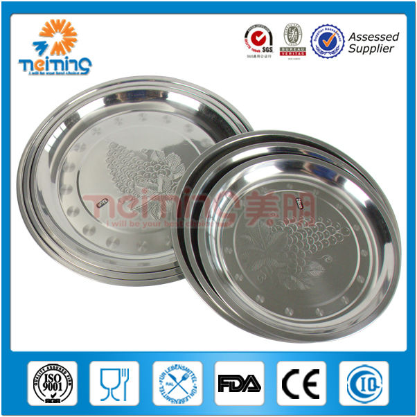 round flower pattern stainless steel buffet trays