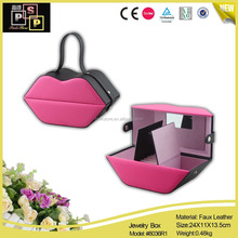 2016 New Hot Pink high quality custom made Lip Shape Jewelry Box