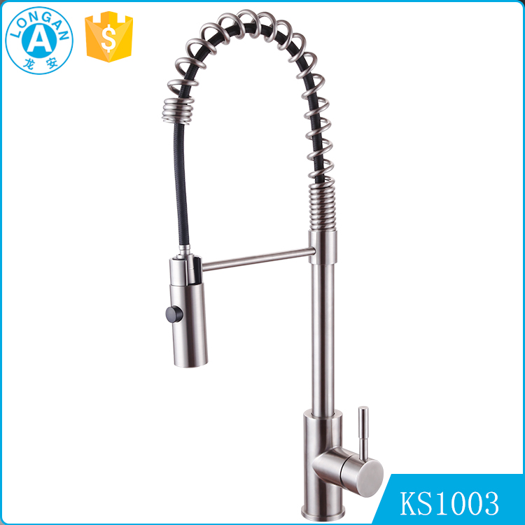 factory wholesale single handle pull down spring loaded waterfall Stainless steel kitchen sink faucet
