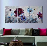 abstract flower canvas painting 3 panel