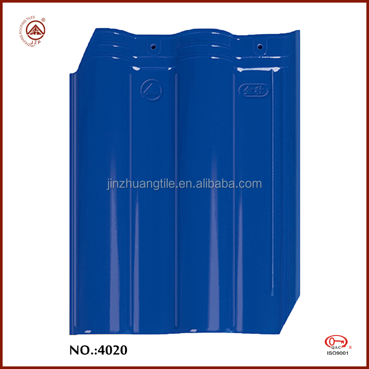 Glazed Glossy Blue Chinese Modern House Ceramic Clay Roof Tiles