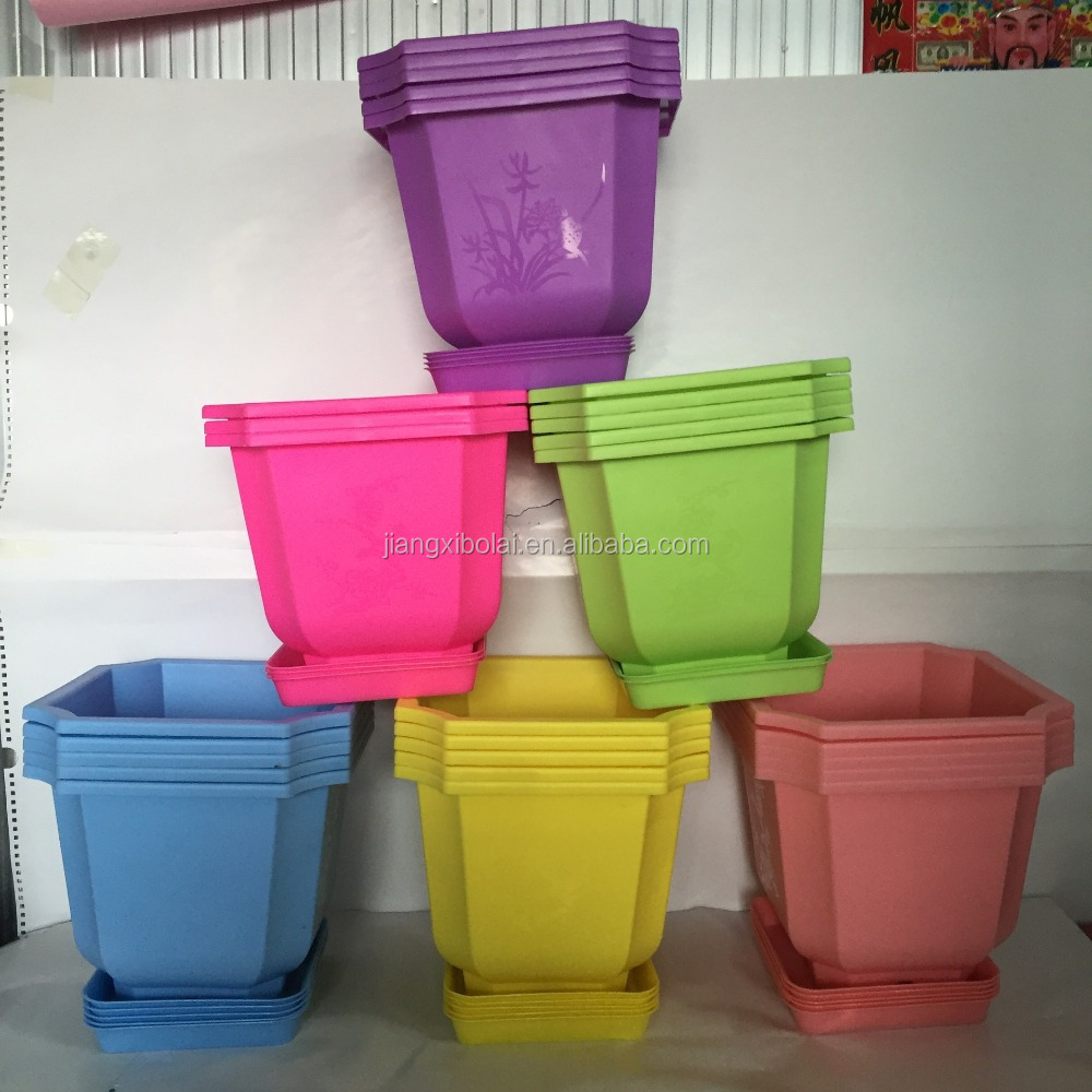 Orchid with tap colored square high Angle plastic flower POTS