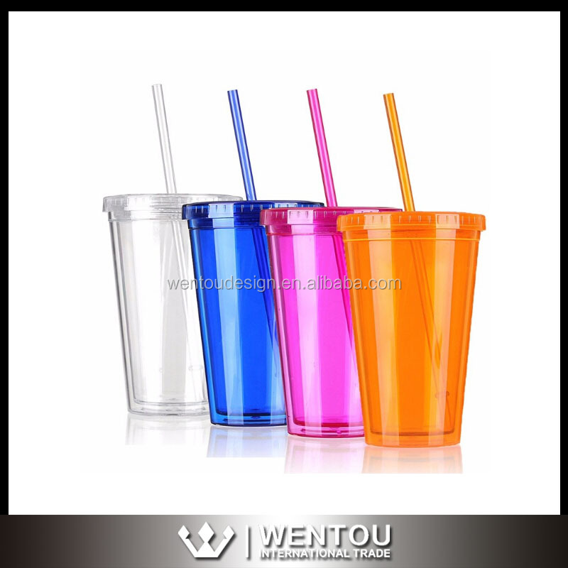 Wholesale 16 OZ Double Wall Plastic Straw Tumbler