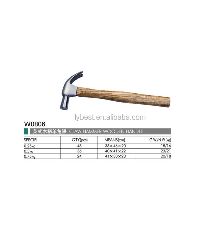 Free sample 8oz 16oz Wooden Handle Claw Hammer Factory