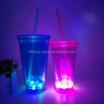 12oz light up Double Wall Glitter plastic tumbler with lid and straw