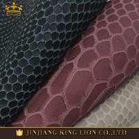 Snake pattern full grain cow genuine leather