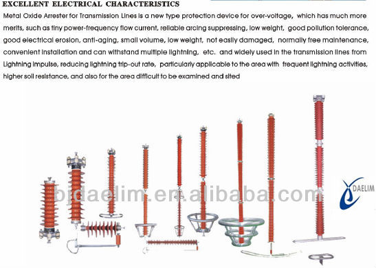 transmission lines used excellent protective performance polymer housed metal oxide surge arresters