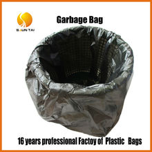hot sale reusable flat black garbage plastic bag on roll