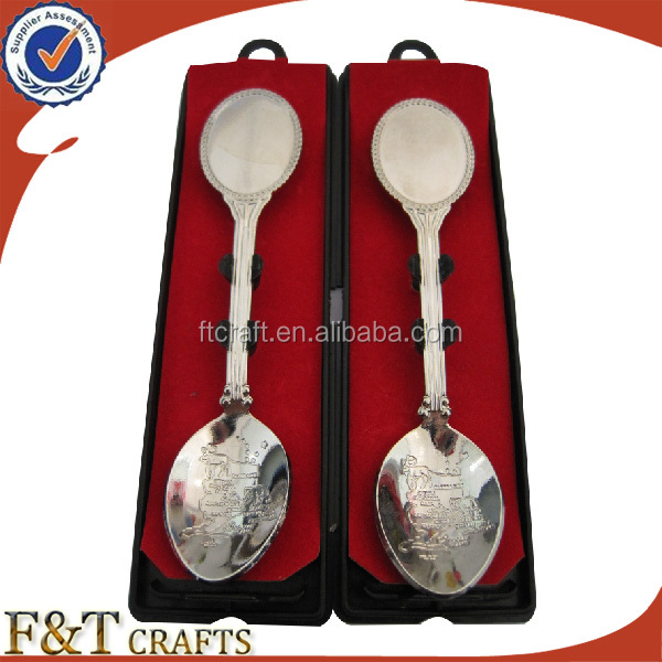 Custom plating nickle bank souvenir spoon for wholesales
