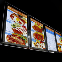 LED crystal light box display menu board for fast food restaurant