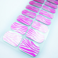 Free sample custom pink zebra patter nail art design korea metallic nail wraps waterproof nail polish sticker factory