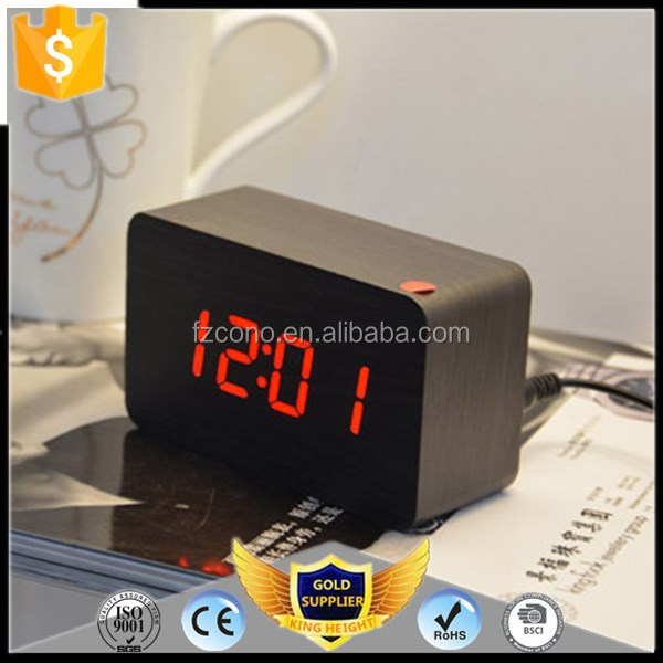 Best Selling Lights Cube Wooden Table and Desk Stand LED Digital Recordable Travel Alarm Clock Rectangle Wood Clock