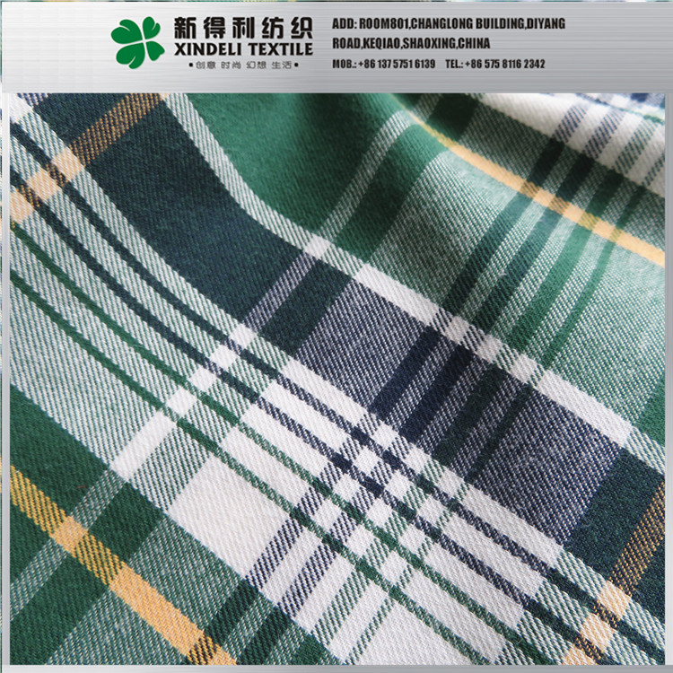 Yarn dyed 130g/m2 check brushed flannel shirt fabric 100% cotton