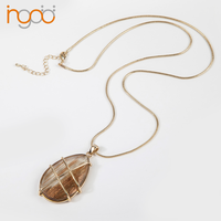 Golden sand stone pendant long gold chains costume necklaces for sale export shenzhen