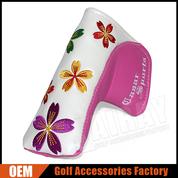 Factory Wholesale Sakura Embroidery Pink Leather Ladies Golf Putter Covers