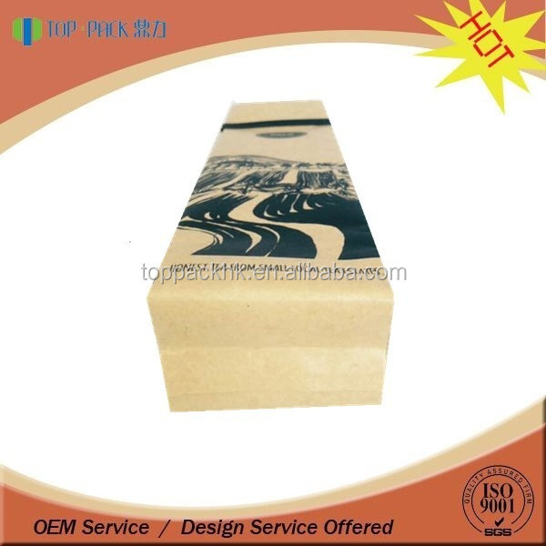 Brown t kraft paper bag with tin tie for food packaging