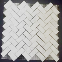Beautiful Marble Herringbone Mosaic Tile for Washroom, Carrara White Italian Carrera Marble Herringbone Mosaic Tile 1 x 2 Honed