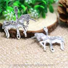 Carousel Horse Charms Antique Tibetan Silver Tone Huge Unicorn Trojan Horse Connector Link Charm Pendant 45x43mm