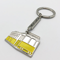 Portugal Tourist Souvenirs Traditional Trolley Lisboa Metal Yellow Bus Key Chain Creative Trolleybus Keychain
