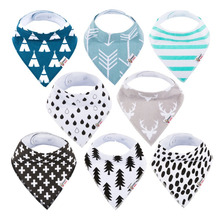 Manufacturers custom fabric personalized christmas 8-pack unisex newborn baby bandana dribble drool bibs for boys and girls