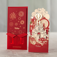 Wishmade Factory Wholesale Luxury Red Wedding Invitation Cards Birthday Card 3d Invitation Card