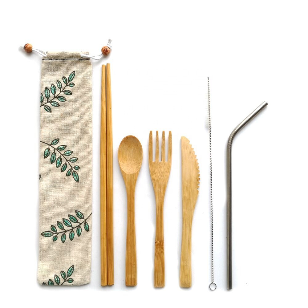 Portable bamboo travel cutlery <strong>set</strong> with stainless straw--reusable bamboo flatware <strong>set</strong> for kids and adults