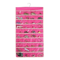 Wall Hanging Jewelry Organizer,Canvas Jewelry Bag Holder With 80 Clear Pocket,(Pink)