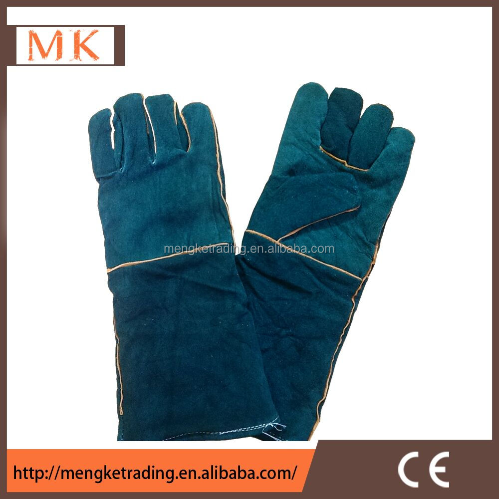 Elbow length green Leather Welder Gloves with full Living