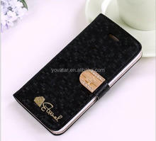 2014 new arrival flip diamond crystal luxurious case for Apple iphone 5 5s, stand leather case for iphone 5