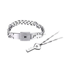 Best Gifts For Christmas Stainless Steel Bracelet Love Heart Lock Bangle Couple Key Pendant Necklace Jewelry