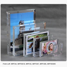 custom glass square picture plate desktop clear crystal acrylic magnetic a3 photo frame with magnet