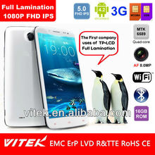 MTK6589 Quad Core Android 4.2 8MP 5 inch FHD Full Lamination 3G Smart phone