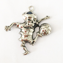 Custom steel skull sport pendants for football fans, biker pendants with football (NC-045)