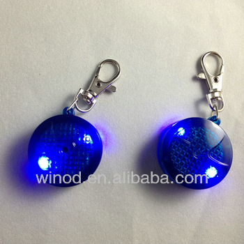Newest round shaped plastic key tags with ring safety light