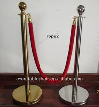 silver banquet hand railing Stanchions Chrome railing with Red ropes