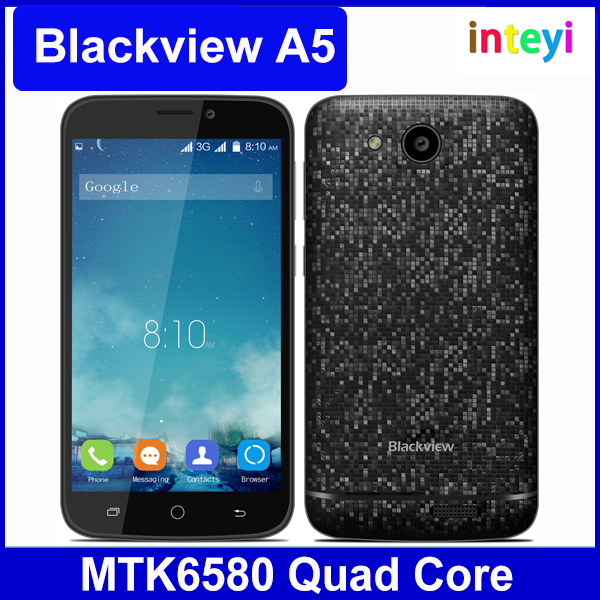 "Original 4.5"" Blackview A5 Android 6.0 MTK6580 Quad Core Smart Phone 1.3GHz 1GB RAM 8G ROM 5.0MP 3G WCDMA 2000mah Battery"