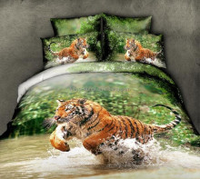 Tiger 100% cotton 3D Top quality comfortable bedding set reactive animal printing bed sheet comforter set