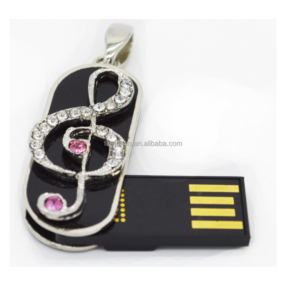 Free shipping Metal Jewelry Music note USB flash drive Pink crystal keychain USB stick Real capacity Flash U disk