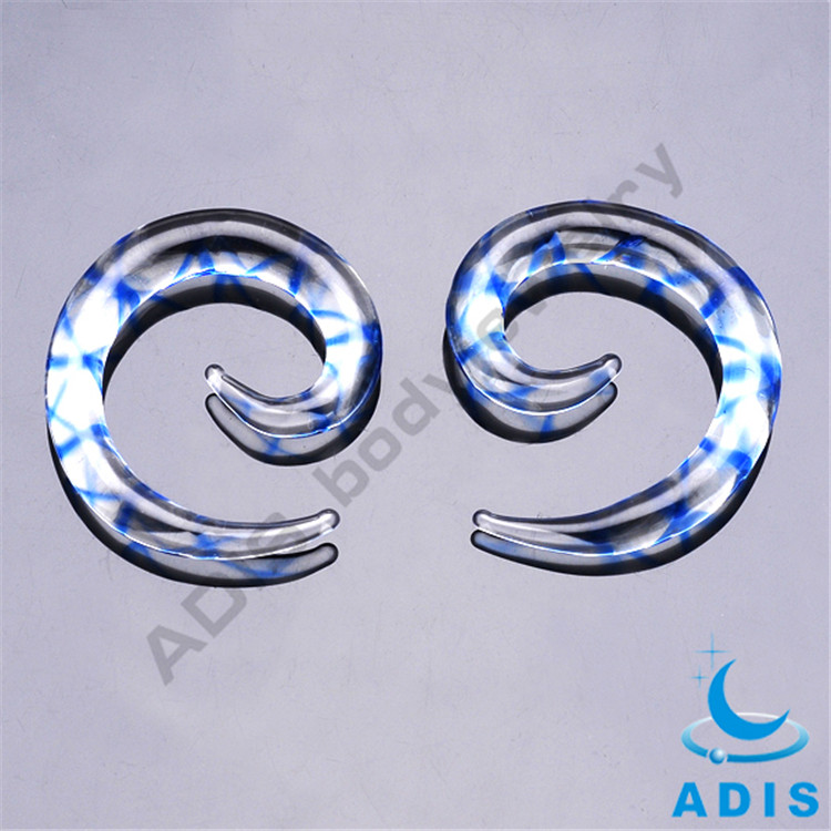 Fashion piercing body jewelry wholesale pyrex glass spiral ear gauges
