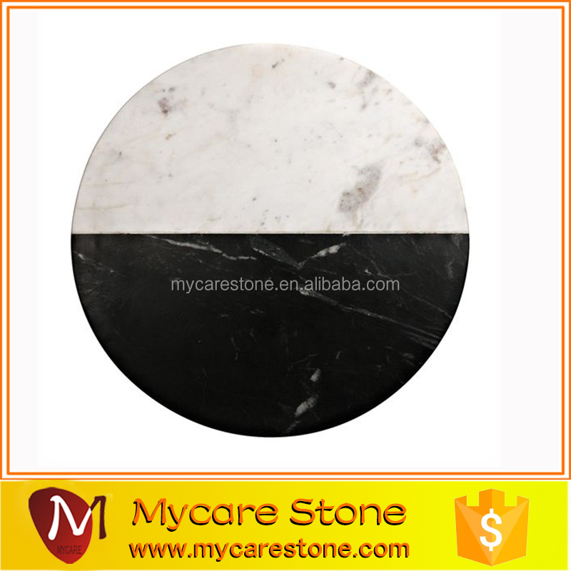 Natural honed marble plate in black marquina and carrara white