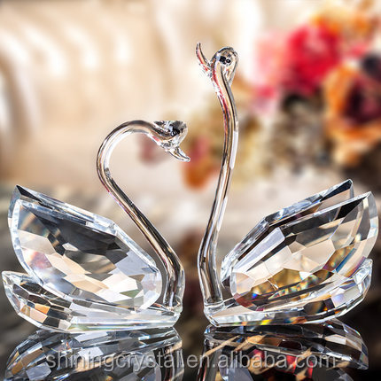 crystal swan glass swan for wedding centerpiece