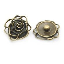 Zinc alloy metal rose flower snap button jewelry