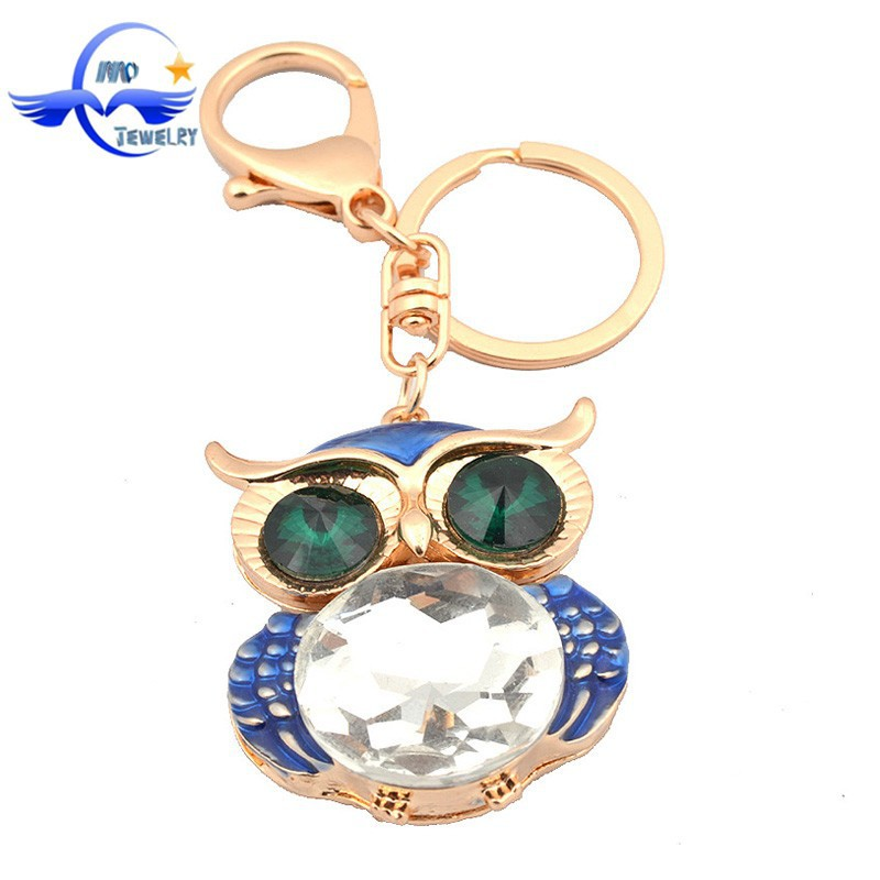 Wholesale Fashion Promotional Gifts Owl Keychain Charm Handbag Pendant Key Chain Ring Cheap Custom Metal Keychain